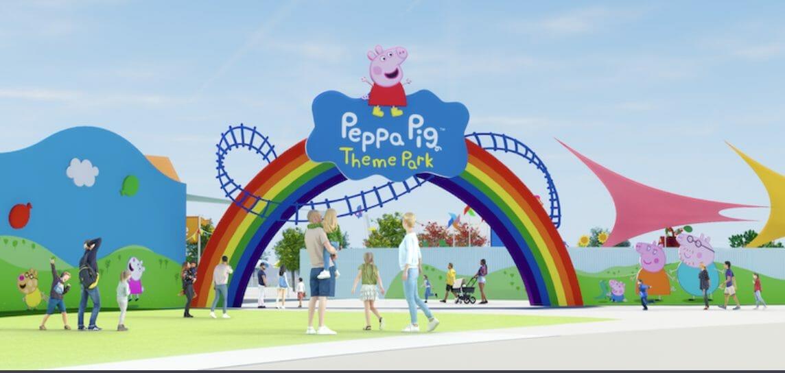 Projeto artístico do novo parque da Peppa Pig em Orlando, com uma placa de arco íris com a Peppa em cima na entrada
