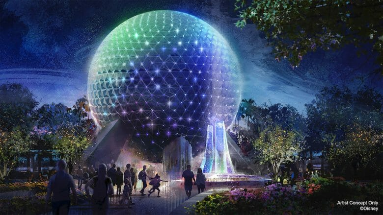 Imagem conceito da bola do Epcot com a nova iluminação para o aniversário de 50 anos da Disney.