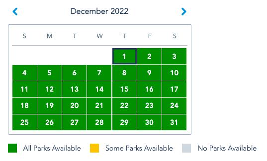 Print do site da Disney mostrando calendário do Park Pass em dezembro de 2022