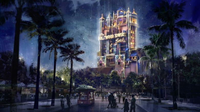 Imagem conceito da torre do terror à noite, iluminada com os tons da festa.