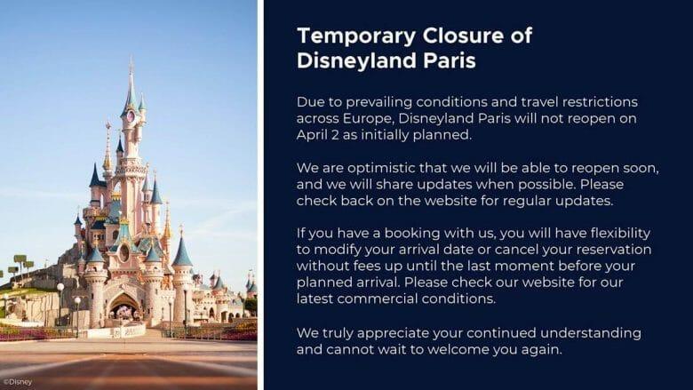 Comunicado da Disneyland Paris adiando a reabertura.