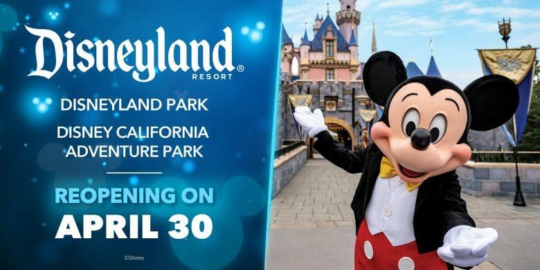 Anúncio da reabertura dos parques da Disney na Califórnia, que será em 30 de abril de 2021