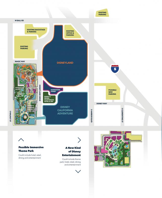 Mapa de como seria a expansão DisneylandForward