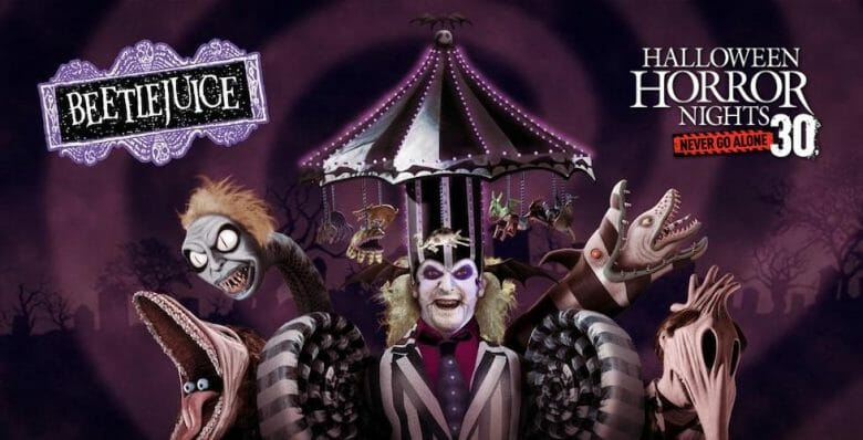 Imagem de divulgação de atração do Beetlejuice no Halloween Horror Nights de 2021.