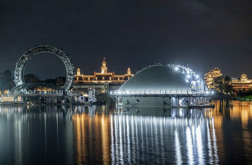 Conceito de como ficará o lago do Epcot com as luzes do show noturno HarmonioUS
