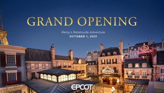 A Disney divulgou hoje que a nova atração de Ratatouille no pavilhão da França no Epcot será inaugurada dia 1 de outubro de 2021.