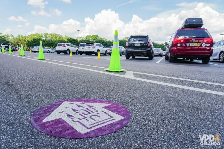 Imagem de carros de várias cores estacionados. Há cones verdes e um círculo roxo no chão indicando o caminho do Magic Kingdom.