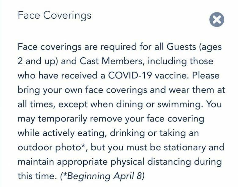 comunicado no site da Disney sobre permissão para fotos sem máscara