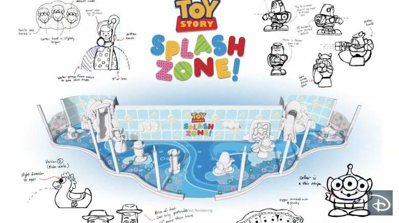 Projeto artístico da área aquática infantil Toy Story Splash Zone, mostranso as piscinas e vários personagens dos filmes