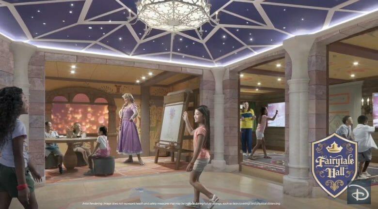 Crianças com a Rapunzel na divulgação do Fairytale Hall do Disney Wish