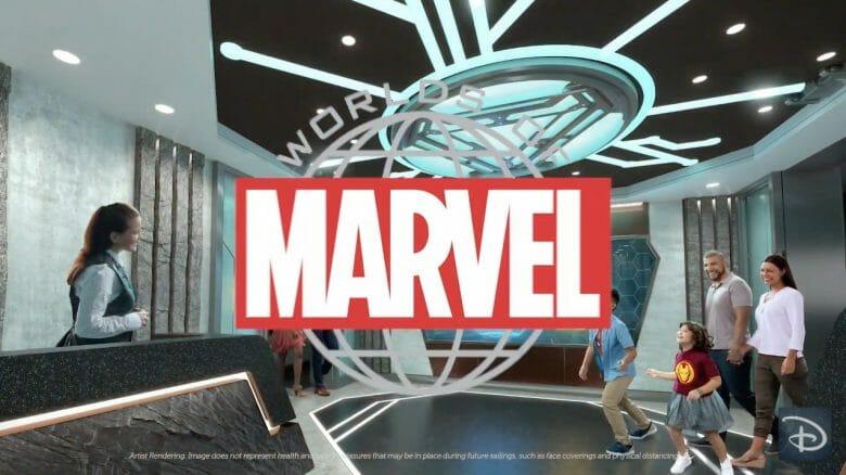 Família chegando na nova experiência gastronômica interativa Worlds of Marvel