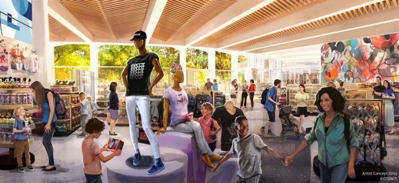 Conceito artístico da nova loja Creations Shop do Epcot