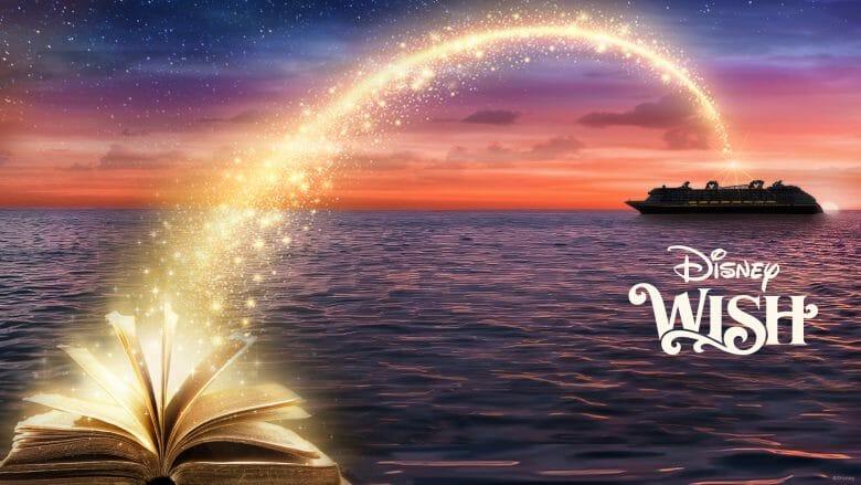 Poster de divulgação do Disney Wish, com um livro aberto soltando luz dourada e o navio ao fundo, em um mar iluminado pelo céu em tons de roxo e rosa