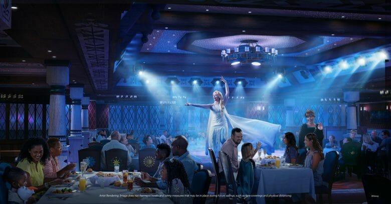 Elsa se apresentando no restaurante na divulgação do Arendelle: A Frozen Dining Adventure