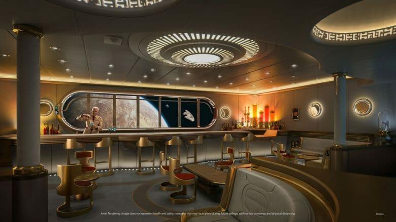 Divulgação do Star Wars Hyperspace Lounge, decorado em dourado com tema futurista