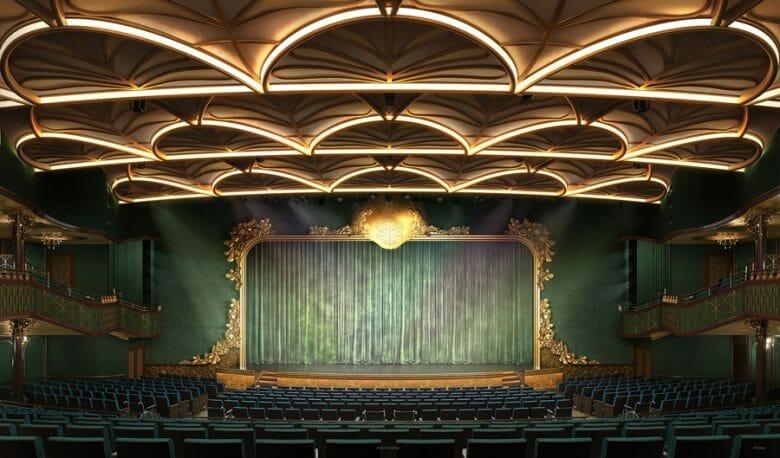 Auditório do Disney Wish,  decorado em dourado e verde