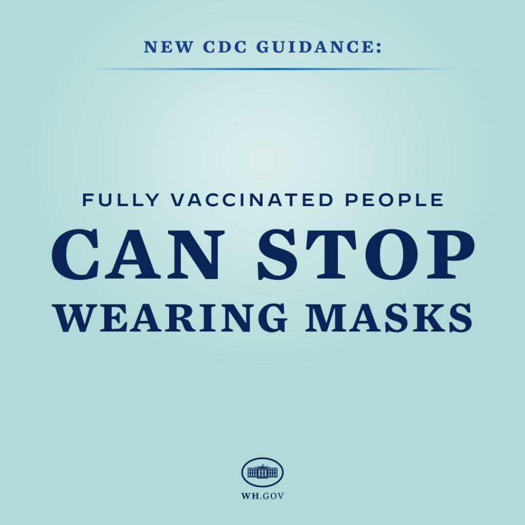 Anúncio do CDC sobre o fim da obrigatoriedade do uso de máscara para pessoas vacinadas nos EUA