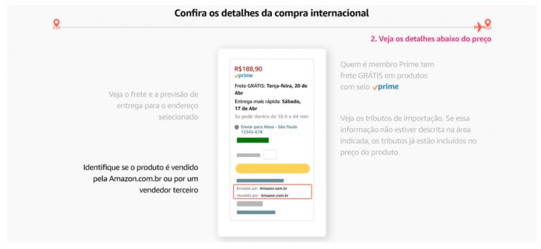 Print do site da Amazon Brasil mostrando os detalhes sobre compra internacional