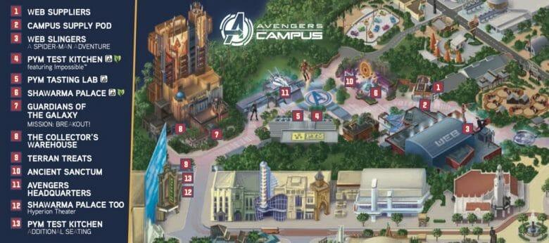 Mapa da área de Marvel, Avengers Campus, no Disney California Adventure
