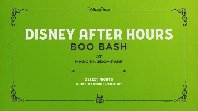 Poster com o anúncio do novo evento Disney After Hours BOO BASH, com fundo verde limão e letras brancas e pretas