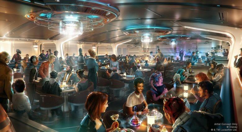 Conceito artistico do Crown of Corellia Dining Room, restaurante do hotel de Star Wars. Imagem: Disney