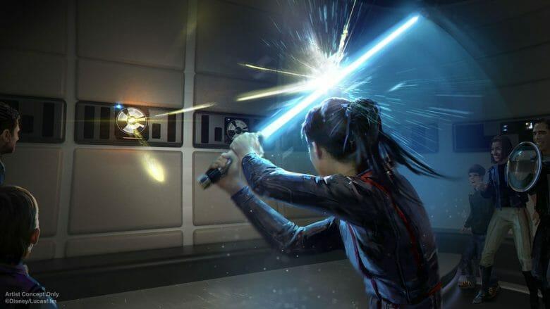Treino de sabre de luz no hotel de Star Wars. Imagem: Disney