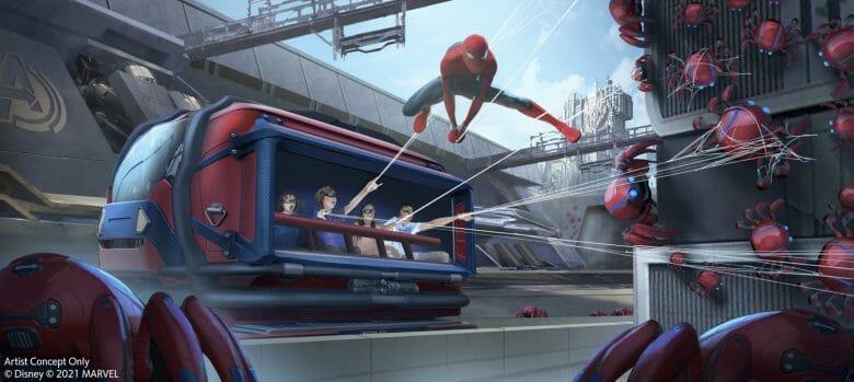 Nova atração da área de Marvel, a atração do Homem-Aranha. Imagem: Disney