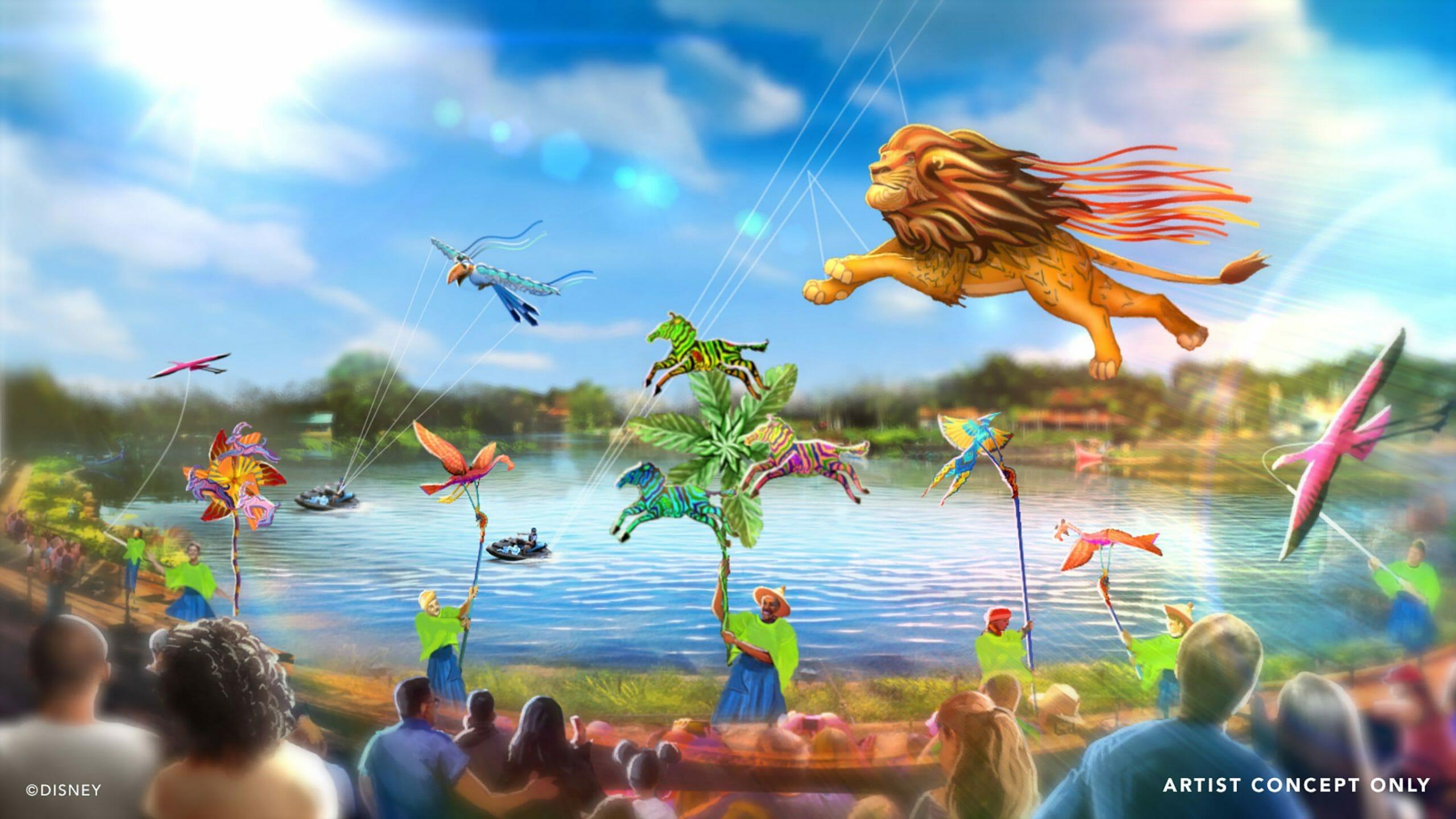 Divulgação do show diurno Disney KiteTails no Animal Kingdom, com animais feitos de pipas e cataventos