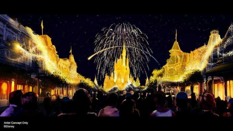 Imagem novo show de fogos do Magic Kingdom criado para o aniversário de 50 anos da Disney.
