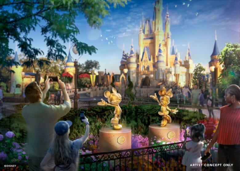 Imagem conceito das estátuas douradas do Mickey e da Minnie no Magic Kingdom.