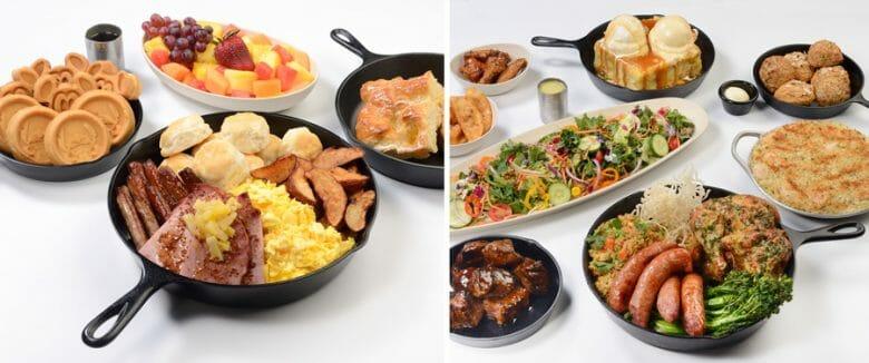 Duas imagens dos cardápios de café da manhã e jantar na reabertura do Ohana. A comida está em panelas de ferro em porções grandes. O lado direito traz o jantar, e o lado esquerdo o café da manhã.