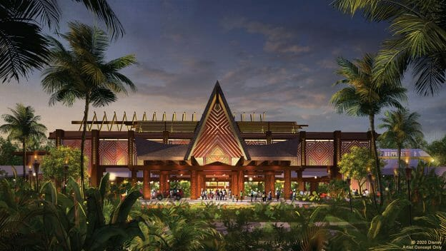 Projeto de como ficará a entrada do Polynesian após a reforma. Ele vai reabrir em julho de 2021.