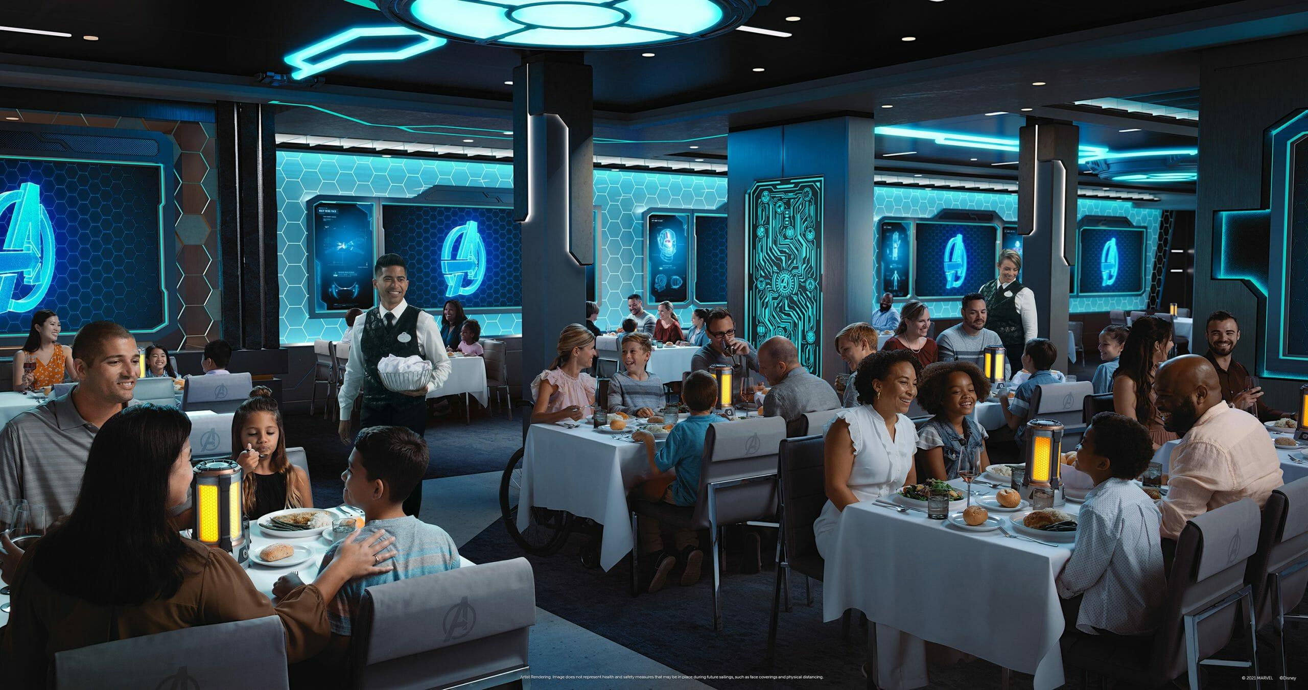 Imagem do novo restaurante da Marvel no Disney Wish, com decoração em tons de azul remetendo aos Avengers