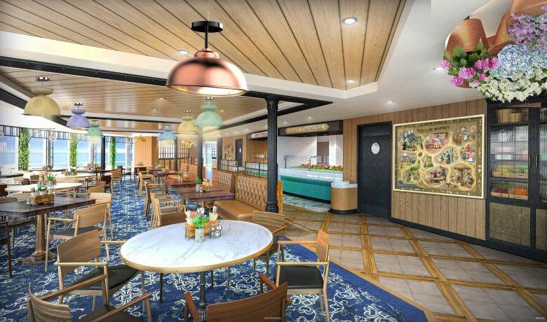 Restaurante no navio da Disney, com cadeiras de madeira clara e um tapete azul escuro