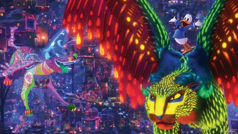 Imagem da nova cena do filme Coco no Mickey's PhilharMagic.
