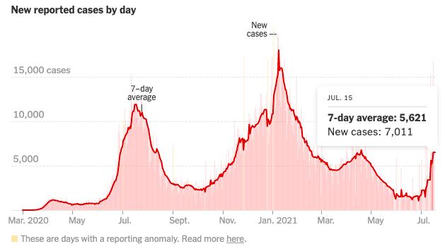 Gráfico de novos casos de Covid reportados por dia de março a julho