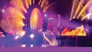 imagem de divulgão do show Harmonious com luzes e água
