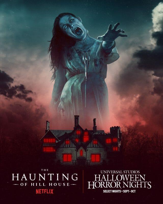 Imagem de divulgação da atração de halloween sobre The Haunting of Hill House, com uma casa de janelas vermelhas em primeiro plano e uma mulher fantasma ao fundo