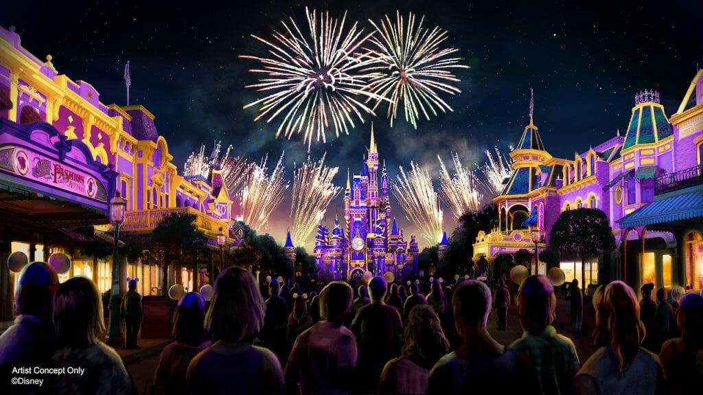 castelo da Cinderlla com pessoas assistindo ao show de fogos