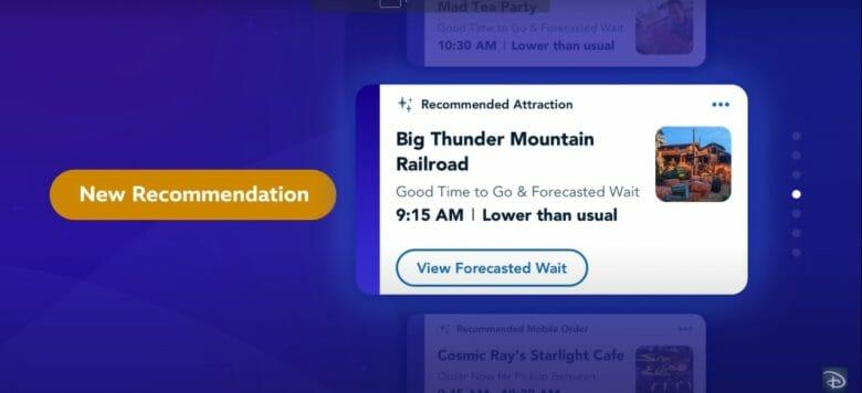 Print do vídeo de divulgação do Disney Genie mostrando as recomendações personalizadas