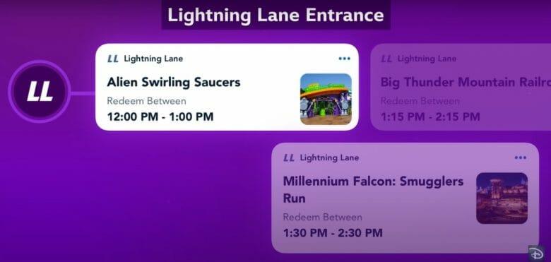 Print do vídeo de divulgação do Disney Genie mostrando a opção Lightning Lane