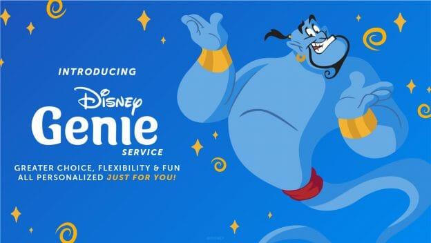 Imagem de divulgação do novo sistema Disney Genie, ilustrada pelo gênio do Aladdin sobre um fundo azul