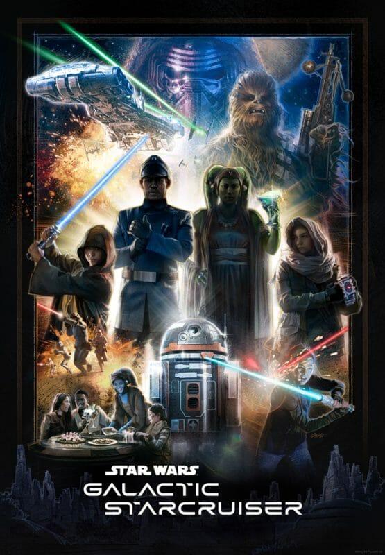 Anúncio da data de abertura do novo hotel de Star Wars, no estilo dos pôsteres dos filmes com vários personagens da saga